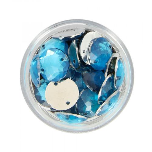 Boîte de strass à coudre en résine - Bleu ciel - Ø 12 mm