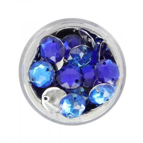Boîte de strass à coudre en résine - Bleu clair et foncé - Ø 10 mm
