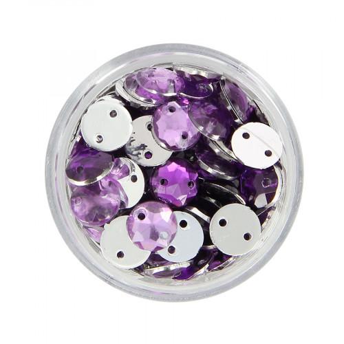 Boîte de strass à coudre en résine - Violet - Ø 8 mm