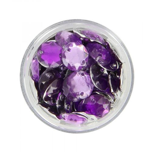 Boîte de strass à coudre en résine - Violet - Ø 10 mm