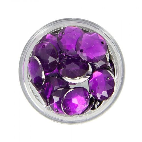 Boîte de strass à coudre en résine - Violet - Ø 12 mm