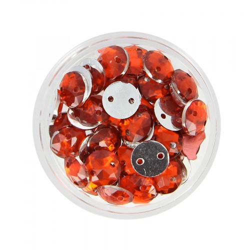 Boîte de strass à coudre en résine - Rouge - Ø 8 mm