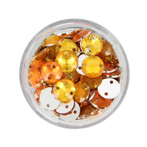 Boîte de strass à coudre en résine - Orange topaze - Ø 8 mm