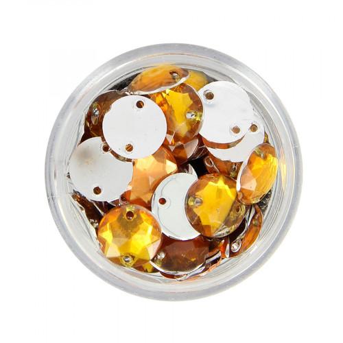 Boîte de strass à coudre en résine - Orange topaze - Ø 10 mm