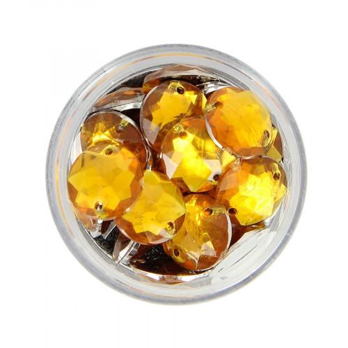 Boîte de strass à coudre en résine - Orange topaze - Ø 12 mm