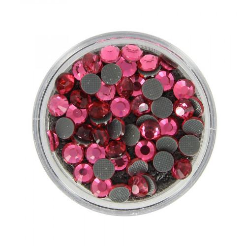 Boîte de strass Hotfix - Rose - Ø 5 mm
