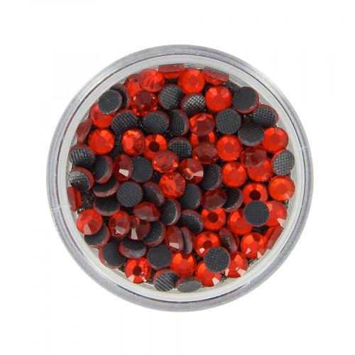 Boîte de strass Hotfix - Rouge - Ø 4 mm