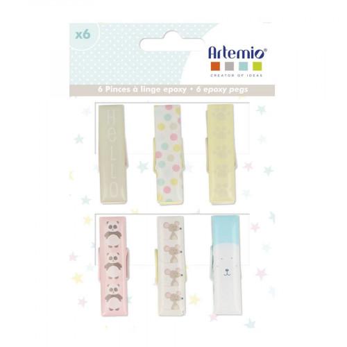 Adorable - Pinces Epoxy - 6 pcs - 1,2 x 4,5 cm