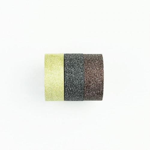 Washi Tape Bling Bling - or clair, gris foncé, marron