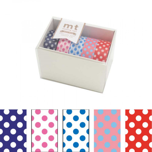 Masking Tape -  Motifs assortis Pois - 5 rouleaux