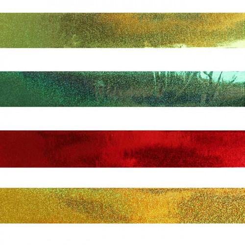 Bandes de papier adhésif - effet métallisé - 2 x 20 cm - 120 pcs