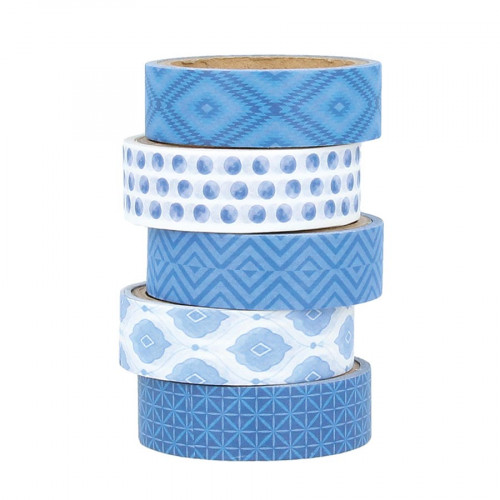 Masking Tape Blue Ethnic - 5 rouleaux