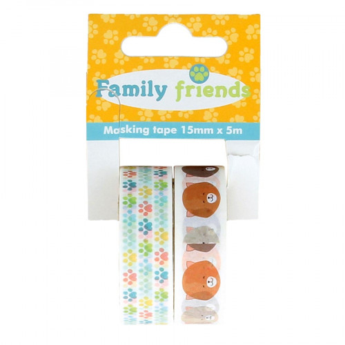 Masking Tape Family Friends Chats - 2 rouleaux