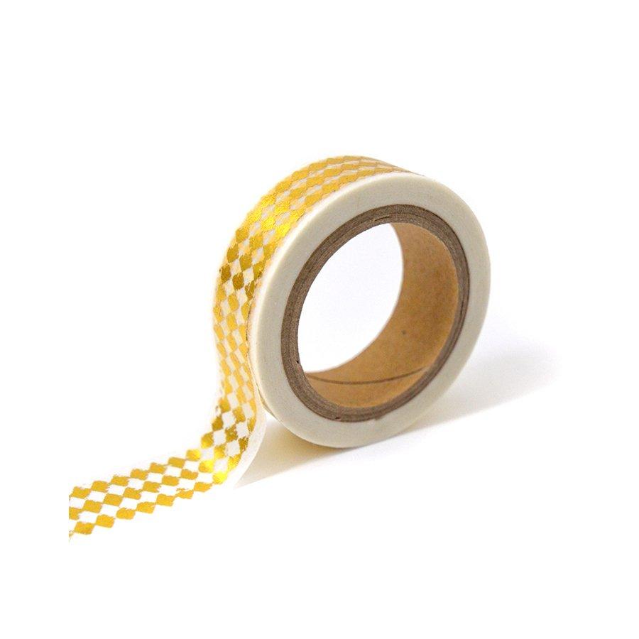 Masking Tape - blanc & losanges or - 1,5 cm x 10 m