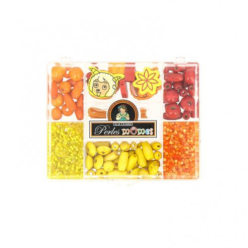 Boîte 7 cases assortiment de perle - Jaune orange et rouge - Taille aléatoire de 1 à 20 mm