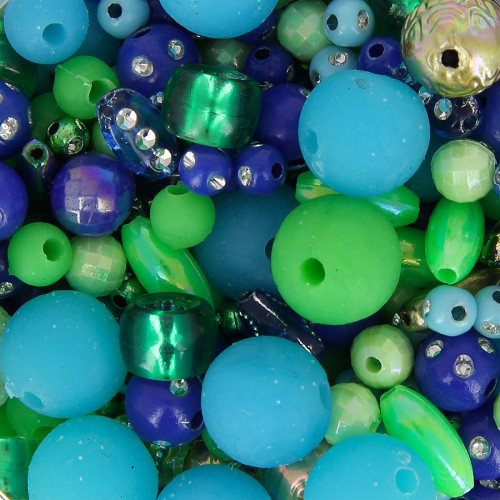 Kit bocal Mademoiseille perle - Vert et bleu - Taille aléatoire Ø de 5 à 15 mm
