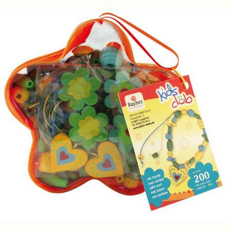 Kit perles en bois magie des fleurs - Vert, jaune et bleu