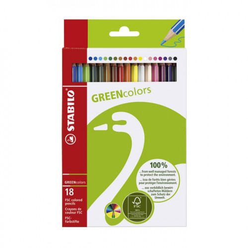 18 crayons de couleur Green Colors