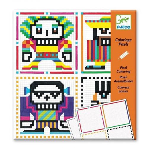 Atelier coloriage pixels - Skull Boys