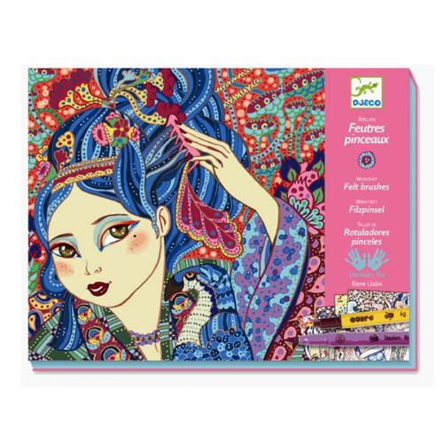 Atelier feutres et pinceaux - Jeunes filles aux cerisiers