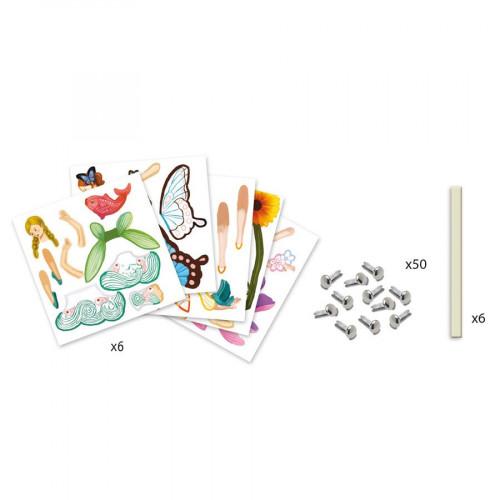 Atelier pantins à colorier - 6 Fées