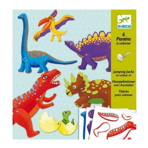 Atelier pantins à colorier - 6 Dinosaures