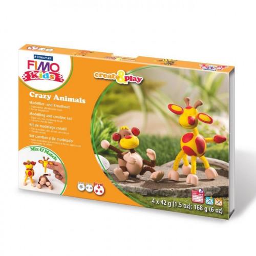 Kit de modelage Fimo Kids Singe et girafe