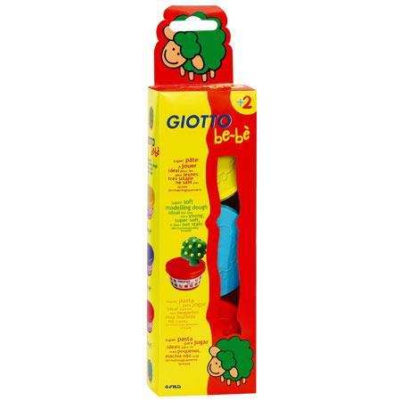 Giotto be-bè - Set de 3 pots de pâte à jouer - Jaune, rouge, bleu