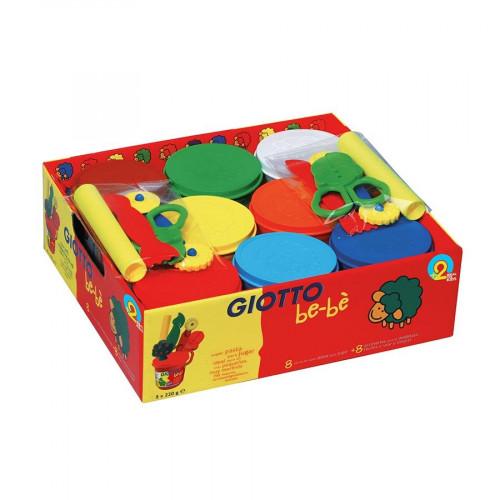 Boîte de 8 accessoires à modeler et 8 pots de pâte à jouer