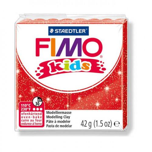 Pâte à modeler Fimo Kids rouge pailleté - 42 g