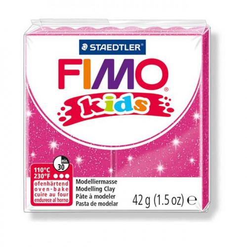 Pâte à modeler Fimo Kids rose pailleté - 42 g