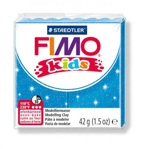 Pâte à modeler Fimo Kids bleu pailleté - 42 g