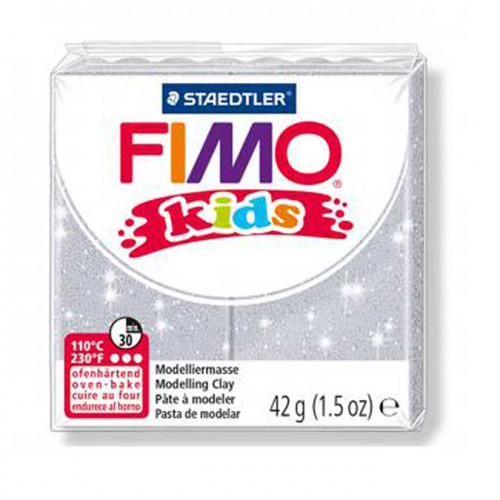 Pâte à modeler Fimo Kids gris pailleté - 42 g