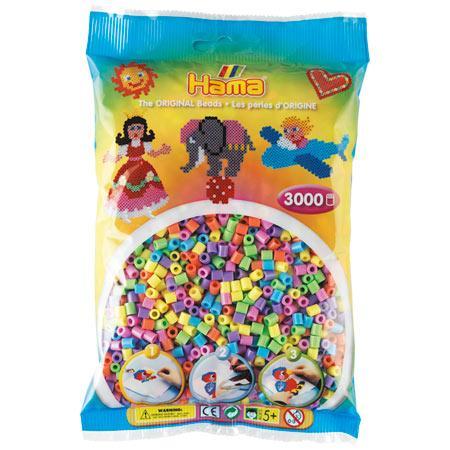 Perles Hama midi x 3000 - Assortiment de couleurs pastels en sachet