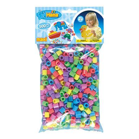 Perles Hama maxi x 500 - Assortiment de couleurs pastels