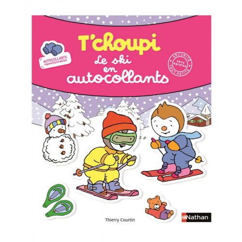 Album d'autocollants - T'choupi - Le ski