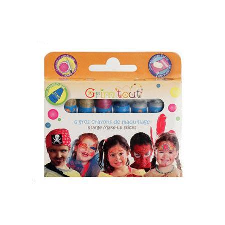 Boîte de 6 gros crayons de maquillage - Couleurs à effet métallisé