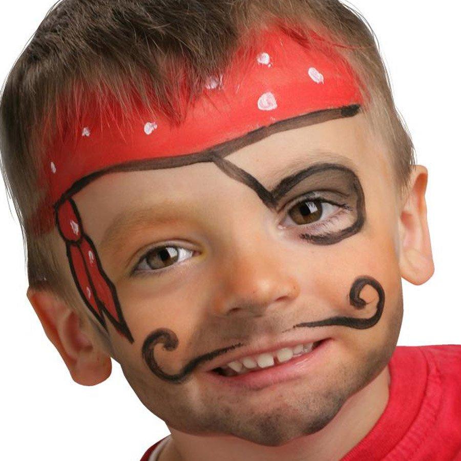 3 sticks de maquillage à l'eau rouge, noir, blanc - Pirate