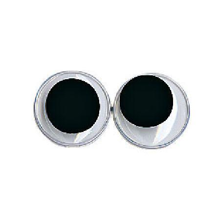 Yeux avec pupilles mobiles - Ronds noirs 12 mm