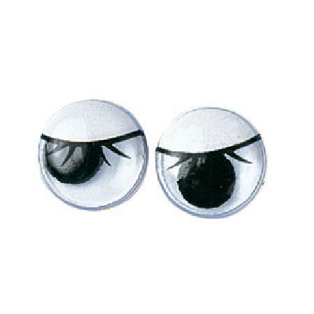 Yeux mobiles avec cils - Ovales noirs 10 mm