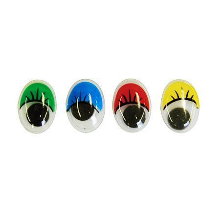Yeux ovales mobiles - avec cils/couleur - 40 pces