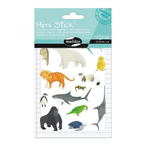Gommettes Mini Stick - Animaux rares - 50 pcs