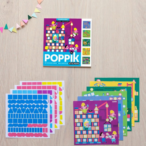 Mes cartes en stickers Construction - 6 cartes en gommettes