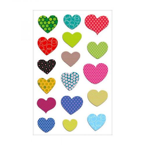 Stickers 3D - Cooky - Cœurs à Motifs x 17