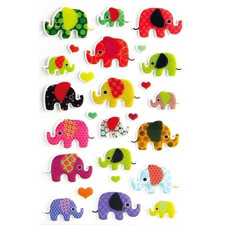 Gommettes à volumes - Eléphants x26