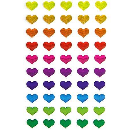 Gommettes à volumes - Cœurs multicolores x50