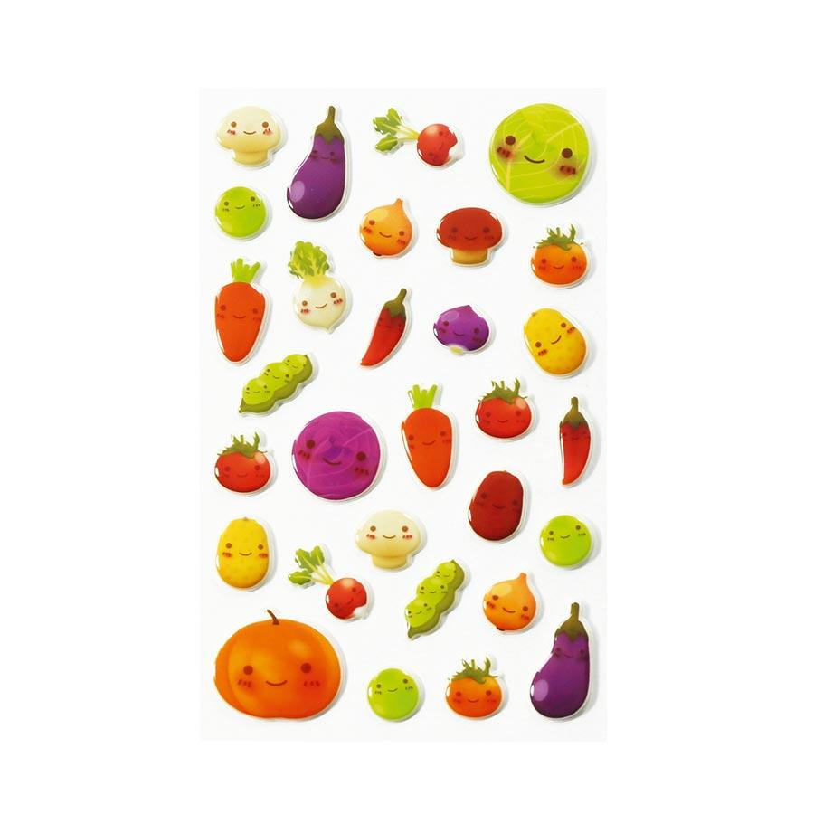 Stickers 3D - Cooky - Kawai Légumes x 32