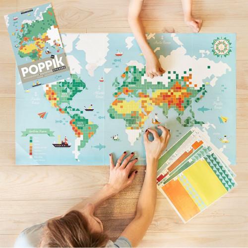Sticker Poster Carte du monde - 1 m x 60 cm