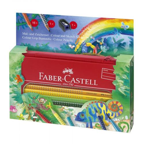 Colour Grip Set Jungle - Crayons de couleur aquarellables + Trousse