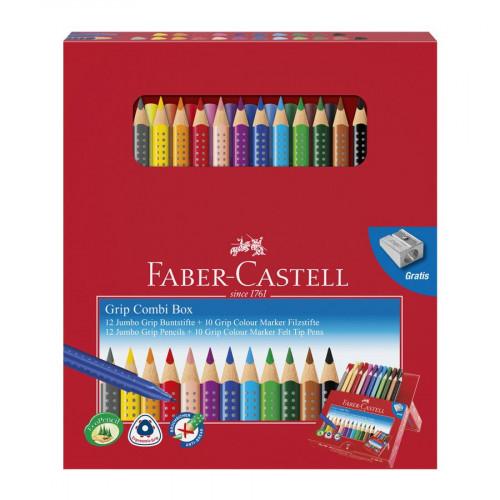 Grip Combi Box - 12 crayons de couleur + 10 feutres